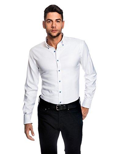 Embraer Herren-Hemd Slim-Fit Tailliert Bügelleicht 100% Baumwolle Oxford Uni-Farben - Männer Lang-Arm Hemden für Anzug mit Krawatte Business Hochzeit Freizeit Oder Unter Pullover Weiß 41/42 (Button-down-gestreiftes Oxford-hemd)