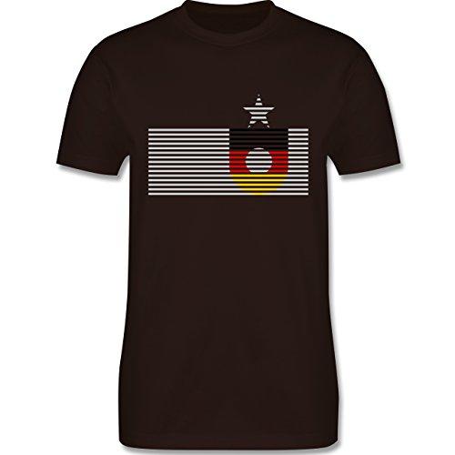 EM 2016 - Frankreich - Deutschland Streifen - Herren Premium T-Shirt Braun