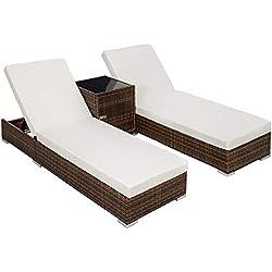 TecTake 2x Chaise longue bain de soleil + Table en Aluminium et Résine Tressée + Deux set de housses + Housse de protection - diverses couleurs au choix - (Noir/Marron | No. 401499)