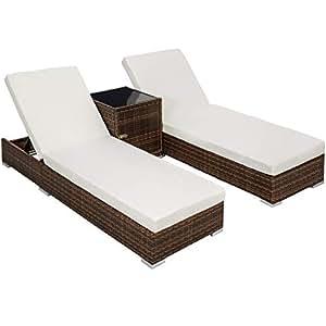 TecTake 2x Chaise longue bain de soleil + Table en Aluminium et Résine Tressée + Deux set de housses + Housse de protection - diverses couleurs au choix - (Noir/Marron   No. 401499)