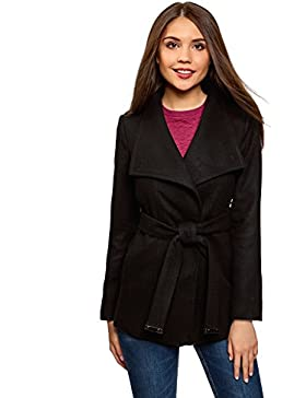 oodji Ultra Mujer Abrigo con Cinturón y Cierre Asimétrico