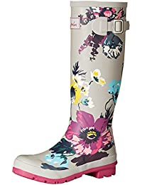 Joules Women's Wellyprint Wellington Boots, Black, Medium
