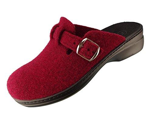 Preisvergleich Produktbild Algemare Damen Clog Hausschuh aus Filz mit waschbarem Sani-pur Wechselfußbett Pantolette 5932_5353 Sandalette ,  Größe:42