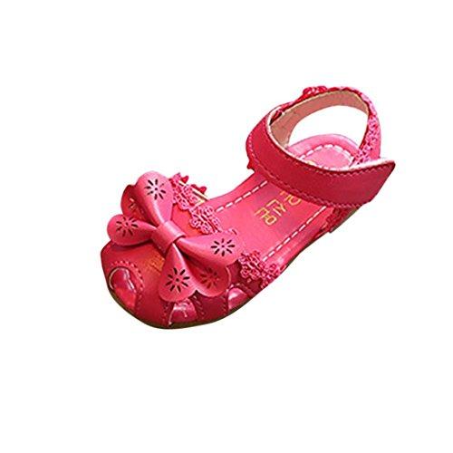 Smrbeauty sandali per bambina, sandali punta aperta bambina, ragazze paillettes scarpe eleganti bellissime piatto bimba partito scarpe principessa scarpe (eu:23, rosso)