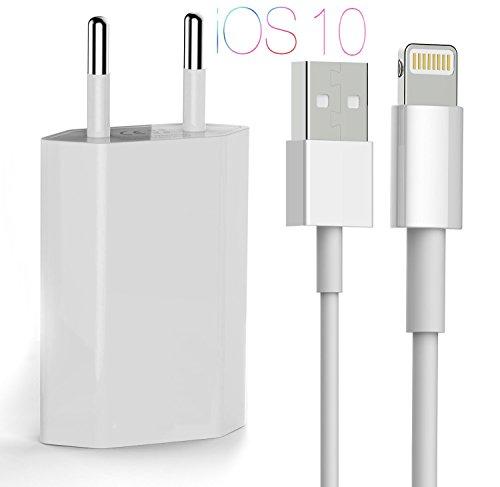OKCS iPhone Ladeset Ladekabel / Datenkabel / Lightningkabel 1m + 1A USB Netzteil für iPhone 7, 7 Plus, 6s, 6s Plus, 6, 6 Plus mit Lightninganschluß - in Weiß