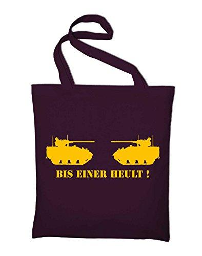 Bis einer heult Panzer Jutebeutel, Beutel, Stoffbeutel, Baumwolltasche, gelb Bordeaux