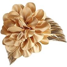 hirolan Mujeres Cinta Mujer Diadema Retro pelo banda Wrap grandes flores sombrero turbante el ala sombrero tapa Cúmulos Tapa cinta boda corona de pelo flor corona
