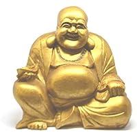 Statuetta di Buddha che ride, grande, dorata, 20 cm, commercio equo e solidale - Laughing Buddha