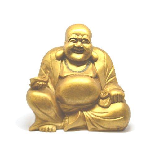 Grande 20Cm Oro Tallada a mano Lucky riendo estatua de Buda-Comercio justo - Laughing Buddha