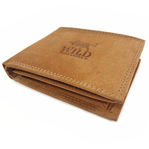 URERBE Herren Geldbörse Portemonnaie Geldbeutel in braun, Echteder mit 7 Kartenfächern, Münzfach, 2 Geldscheinfächern, 3 Sichtfenstern, Sicherheitsfach, braunem Innenfutter