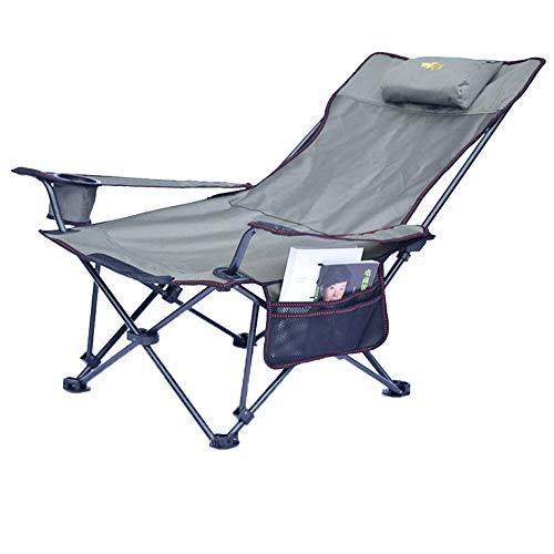 XBZDY Tragbare Outdoor Klapp Liege, Volle Tuch Unterstützung Angeln Stuhl Camping Klappstuhl Freizeit Hocker Siesta Liegestuhl Strand Stuhl (kurzer Absatz) (Farbe : Khaki) - Outdoor Klapp-liegen