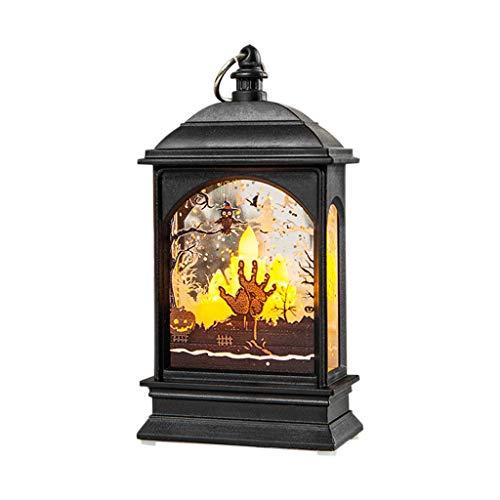 Wanshop Halloween Deko LED Lampe Hängende Laterne Flamme Licht für Halloween Home Tischdekoration kürbis Glasfenstern und Wunderschön Leuchtender Kerze (B) -