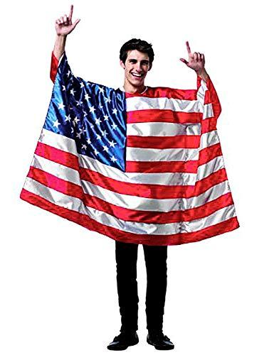 Kostüm Wearable - DomeStar USA American Flag Cape Umhang Umhang Trachtenflagge mit Ärmeln Klassische Flagge, 2 Verschiedene Tragemethoden