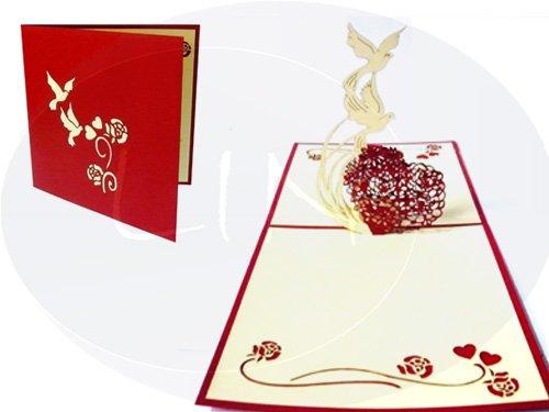 Lin de Pop up Cartes de mariage mariage mariage cartes, invitations, cartes 3D Cartes de vœux mariage, Félicitations, cœur avec colombes