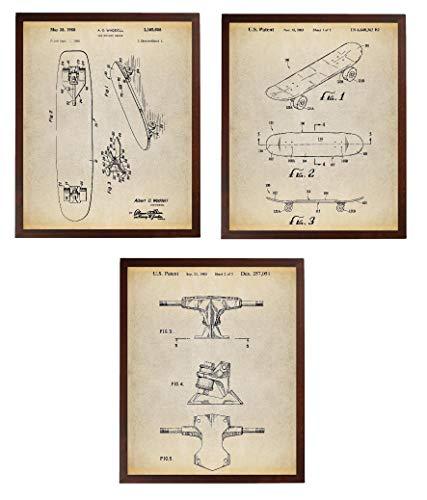 Turnip Designs Skateboard Art Patent Poster Art Prints Series Set 3 Skateboard Deck Boys Room Decor Skateboard Decor Teenager Boy Geschenk TNP43 -