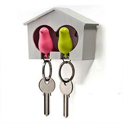 Jooks Schlüsselbrett Spatzen Vogel Schlüsselahnhänger Schlüsselhalter anhänger und Trillerpfeife Sparrow Key Ring (Grün und Rosa) (Key West Grün)