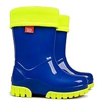 Demar Kids Boys Girls Wellies Wellington Boots Rainy Snow Fluo Neon Thermal Liner (7-8 UK Child)