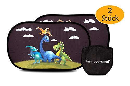 Hannoversand Selbsthaftender Sonneschutz Auto Sonnenblende für Kinder mit Dinos [2er Set]