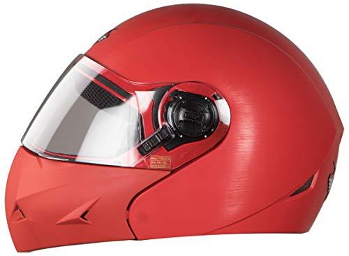 Steelbird SB-45 7Wings Flip Up Helmet with Plain Visor (Large 600 MM, Natural Red)