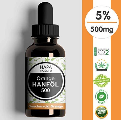 Hanföl 5{ea0405c16a1008ec61bdf224d52d4766250358e5bad1daf7e1bf31dc4bfd0976} 500mg hochdosiert, NAPA NATURE® Premium Hanf-Öl in BIO-Qualität, natürlicher Orangen-Geschmack. Laborgeprüft, Vollspektrum-Essenz mit CB-1 und CB-2 Aktivator, aus CO2-Extraktion, 10ml
