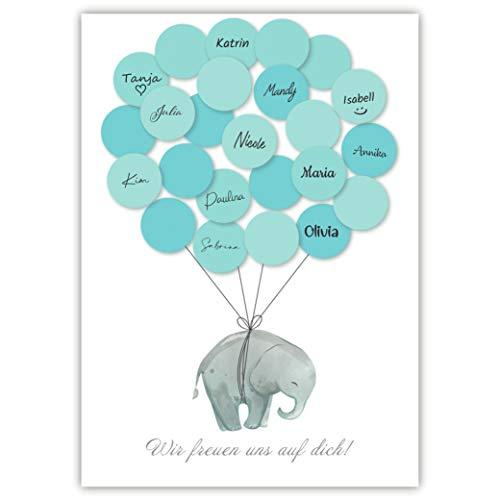 Pandawal Babyparty Deko Junge Elefant Gästebuch Alternative (blau) Gastgeschenk für Baby Shower Set Taufe Erinnerungsstück/Andenken für Baby & Kinder beschreibbar/Fingerabdruck