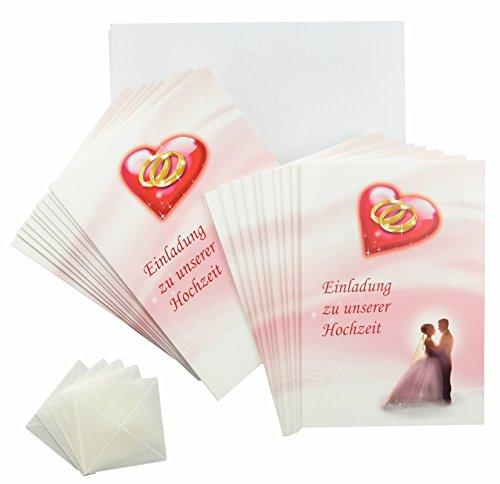 Hochzeit Einladungskarten rosa - rot - weiß im Set. Einladungen zum Hochzeit feiern mit 20 x Einladungskarten, 20 weiße Umschläge und je 20 Fotoecken, ggf. mit Foto selbstgestalten (20 Stück, Einladungskarten)