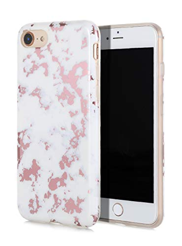 SunshineCases【Weißes Marmor mit Roségold-Folien-Inlay】 Flexibel, dünn, rutschfestes Design, kompatibel mit Apple iPhone 8 & iPhone 7 -