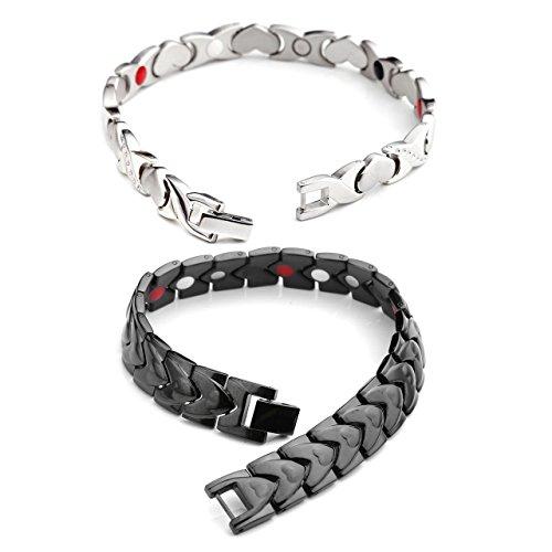 JOVIVI Partner Magnetarmband 2x Edelstahl Magnetisch Armreif 4-in-1 Magnete Armband Freundschaftsketten Liebhaber Armrief #1