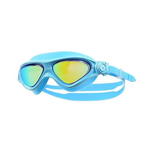 Sunny Honey Beschichtete Kind-Schwimmen-Schutzbrillen-Jungen-Mädchen-Wasserdichte Und Anti-Nebel-große Rahmen-Gläser (Farbe : Lake Blue)