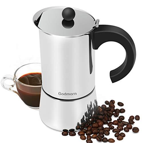 Godmorn Cafetière Italienne pour 300ml 6 Tasses de café aromatique, cafetière pour Plaque à Induction, ou vitrocéramique etc, Moka en Acier Inoxydable 430 argenté.
