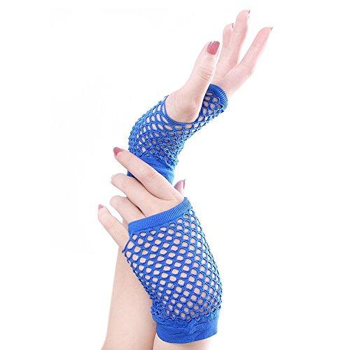 Sccarlettly Frauen Punk Coarse Mesh Fingerless Fischnetz Chic Casual Handgelenk Handschuhe Party Gemütlich Fäustlinge (Color : Dunkelblau, Size : One Size) Coarse Mesh