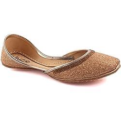 Unze Damen Damen Traditionelle BIHAR Handgefertigte Gold Glittery indischen Freizeit-Leder flache Khussa Pantoffeln Schuhe UK Größe 3-8 - LS-612