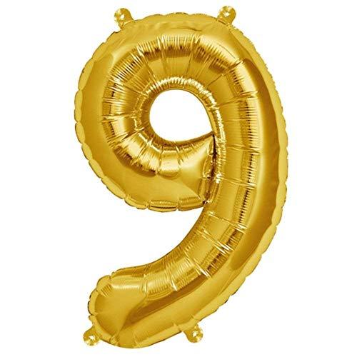 Folienballon Gelb-Gold | Zahl 9 | Ballon für Luft und Helium | XL 70 x 15 cm | Geburtstag Hochzeitstag Jubiläum Geschenk Abschluss Party Überraschung