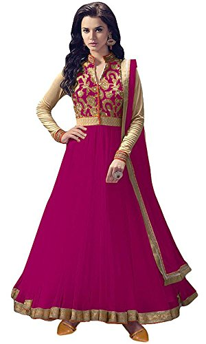 Women's Clothing Anarkali Suit Designer Party Wear Today Offers Low Price Sale Top Dark Pink Color Banglori Silk Fabric Free Size Salwar Kameez Dress  available at amazon for Rs.499