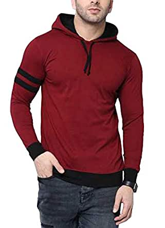 Fenoix Men's Cotton T-Shirt Full Sleeve Hooded Maroon-Small