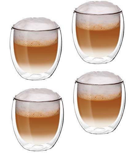 Glassquisite - doppelwandige Gläser - Thermogläser - 2er Set mit Schwebe-Effekt - je 300 ml - ideal geeignet für Heiß- oder Kaltgetränke wie Tee, Cappuccino, Kaffee, Wasser, Cocktails (2)