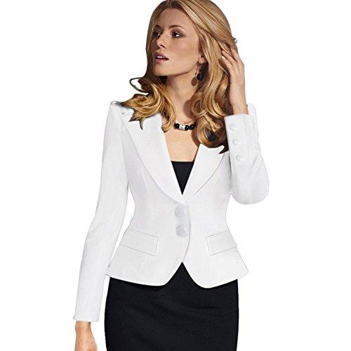 BOBORA Donna Bussiness Blazer Suit 2 Button Workwear Nero Cappotto del Rivestimento