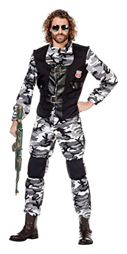 Kostüm Uniform Soldat - Karneval-Klamotten Soldat Kostüm Herren grau Camouflage Uniform Herren-Kostüm Karneval Größe 60