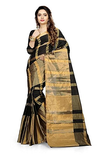 Saree Center Cotton Silk Saree (SC_Aashiqee_Black_Black_Free Size)
