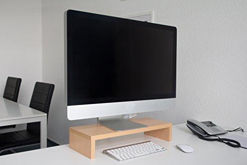 Design Monitortisch Slim Bildschirm Ständer Erhöhung Schreibtischregal Standfuss Buche B / H / T 50 x 10 x 20 cm