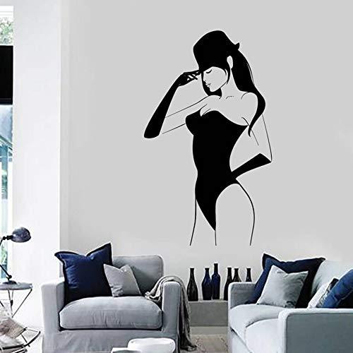 YAYAS Sticker Mural Sexy Jeune Femme Vinyle Sticker Mural Filles Nues Chaud Sexy Vinyle Autocollant pour La Maison de La Fille