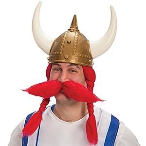 Carnival Toys - Peluca de vikingo con bigotes en maletín, color rojo (662)