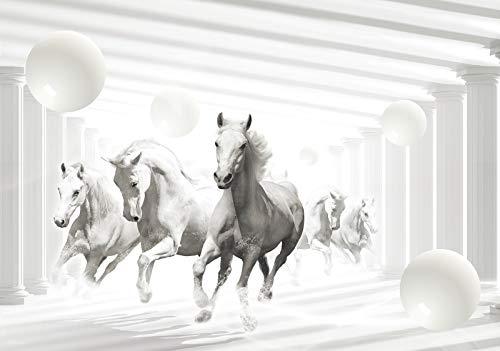 Forwall Fototapete Vlies Tapete Wanddeko 3D Effekt - Pferde Kugeln Abstrakt Weiß Grau Moderne Wanddekoration Wandtapete Vliestapete 10154VEXXXL 416cm x 254cm Schlafzimmer Wohnzimmer
