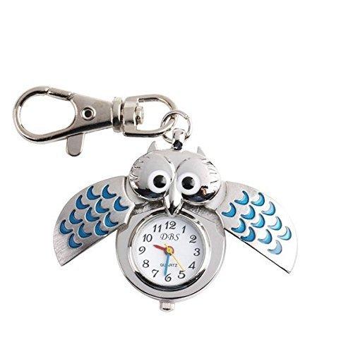 Carry stone 1 Stücke Stilvolle Eule Schlüsselanhänger Uhr Anhänger Schlüsselbund Autotasche Charme Hängende Ornamente Schlüssel Schnalle Geschenke für Frauen Mädchen - Blau Langlebig und Praktisch