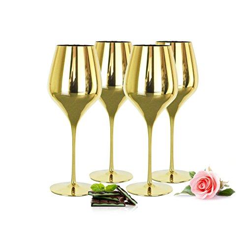 Sendez 4 verspiegelte Weingläser 600ml in Gold Rotweingläser Weißweingläser Weinkelch