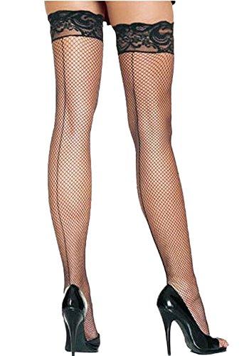 Beluring Damen Netzstrumpfhose Overknee Halterlose Strümpfe mit Spitzenabschluss Seamed Fishnet Stockings Schwarz