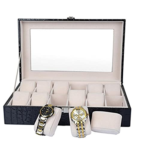Top Leather 12-Slot Watch Box-Watch Display Case-Jewelry Box-Watch Storage with Safe Lock and Transparent Window
