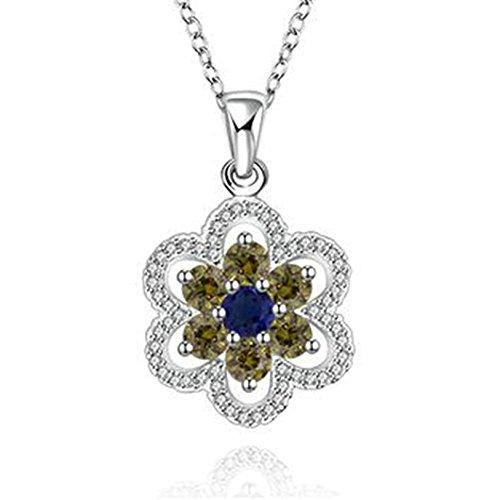 Aeici Schmuck Versilbert-Basis Anhänger Halskette für Frauen Blume Halskette Silber Dimension: 1.6X2.4CM - Eule Kette Origami Gold
