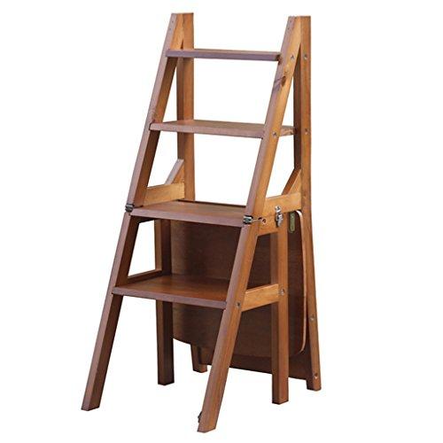 Hocker Stuhl Schritt (WSSF- Klappstufen Faltbarer Leiter-Stuhl mit 4 Schritten / Schemel mit Widen Tread Safety verriegelndes Kiefer-Treppenhaus-Schemel Doppelt-Gebrauch klettern hohe kleine Leiter-Haushalts-Multifunktionsküche u. Garten-Trittleiter-Schemel, 36 * 39.5 * 89cm ( Farbe : Walnut Farbe ))