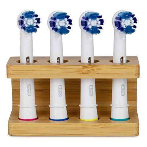 Sheevah Zahnbürstenhalter aus Bambus für ORAL-B-Zahnbürstenköpfe. Kunststofffreier, umweltfreundlicher, handgefertigter Halter für Köpfe elektrischer Zahnbürsten. Für bis zu Vier Zahnbürstenköpfe.